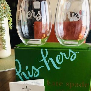 Kate Spade His and Hers stemless wine glasses